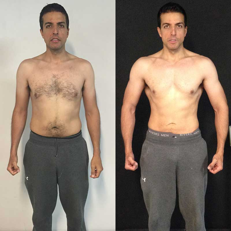 Tom Hewett client Vinny before and after transformation